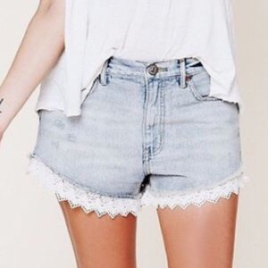 Free People High Rise Lace Trimmed Jean Shorts